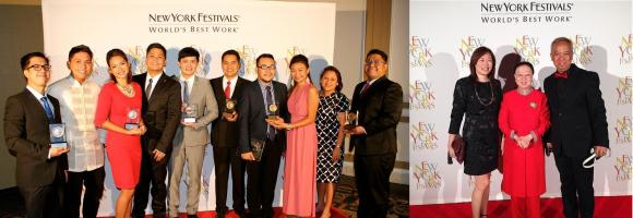 "New York Festival 2014 - GMA awardees (Left photo) Reel Time's Silang Wala sa Mapa Executive Producer: Jayson Bernard B. Santos, Brigada's Sipa ng Pag-asa Reporter: Steve F. Dailisan, Brigada's Gintong Krudo Reporter: Micaela P. Papa, Brigada's Program Manager: Lee Joseph M. Castel, Tunay na Buhay's Program Manager: Lloyd V. Navera, News TV QRT Anchor: Rodrigo ""Jiggy"" D. Manicad, Jr., Front Row's Lusong Dunong Executive Producer: Joseph Conrad P. Rubio, Front Row's Lusong Dunong Segment Producer:  Nica Cellini Catanes, Senior AVP for Public Affairs: Leogarda S. Matias,  AVP for Public Affairs: Neil B. Gumban New York Festival 2014 - GMA awardees (right photo) Senior AVP for Entertainment Gigi Santiago-Lara, Ms Elvira Go of Columbia International Food Products, Inc (makers of Potchi candy) and Louie Ignacio, director of Tropang Potchi"