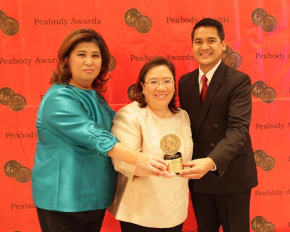 GMA News and Public Affairs Senior Vice President Marissa L. Flores, First Vice President for News Programs Jessica A. Soho and news anchor/reporter Jiggy Manicad, who represented the GMA News teams who covered Yolanda.