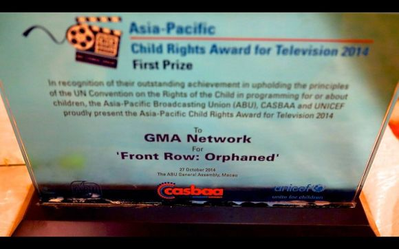 Front Row won Grand Prize at the UNICEF Asia Pacific Child Rights Award for Television for its documentary Ulilang Lubos