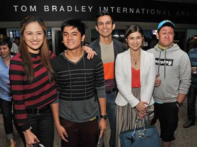 Julie Anne San Jose, Miguel Tanfelix, Tom Rodriguez, Carla Abellana, and Betong Sumaya are all smiles upon arriving in LA for the Kapusong Pinoy sa L.A. concert (photo courtesy of Sthanlee B. Mirador)