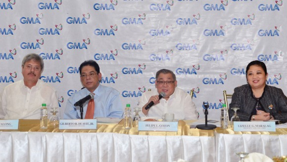 (from left) GMA EVP and CFO Felipe S. Yalong, GMA President and COO Gilberto R. Duavit, Jr, GMA Chairman and CEO Felipe L. Gozon, and GMA Marketing and Productions, Inc. President and COO Lizelle G. Maralag at the GMA Network Q3 Performance Briefing on November 14 at the GMA Network headquarters in Quezon City