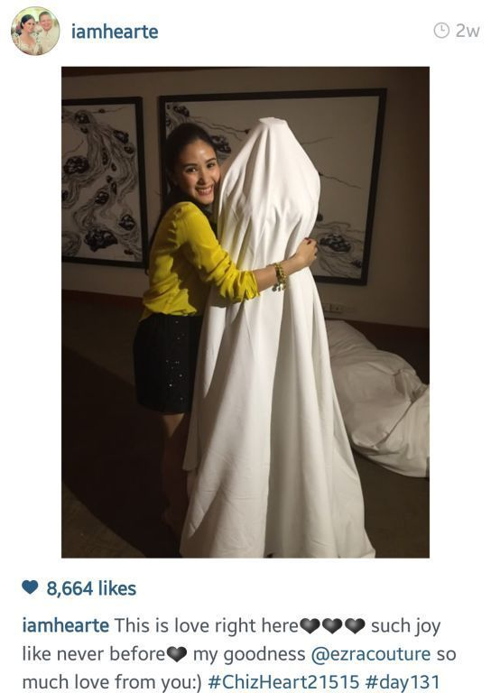 Heart's gown is made by Dubai based designer Ezra Santos (Photo from Heart's Instagram)
