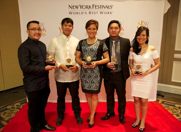 (front left) Front Row Exec. Producer Joseph Conrad Rubio, Motorcycle Diaries Host Jay Taruc, Reporter's Notebook Host Maki Pulido, Reporter's Notebook Exec. Producer Ian Carlos Simbulan and Program Manager Nena Dumol at the 2015 New York Festivals