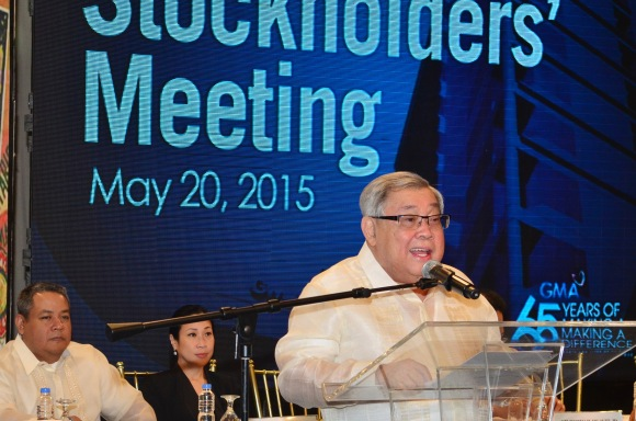 GMA Network Chairman and CEO Felipe L. Gozon at the Company's Annual Stockholders' Meeting held today, May 20, at the GMA Network Studios in Quezon City. Above photo also shows GMA directors Michael John R. Duavit and Anna Teresa Gozon-Abrogar.