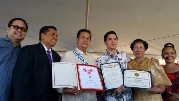 Alden was presented with certificates from the US Congress, State of California Senate, and City of Carson